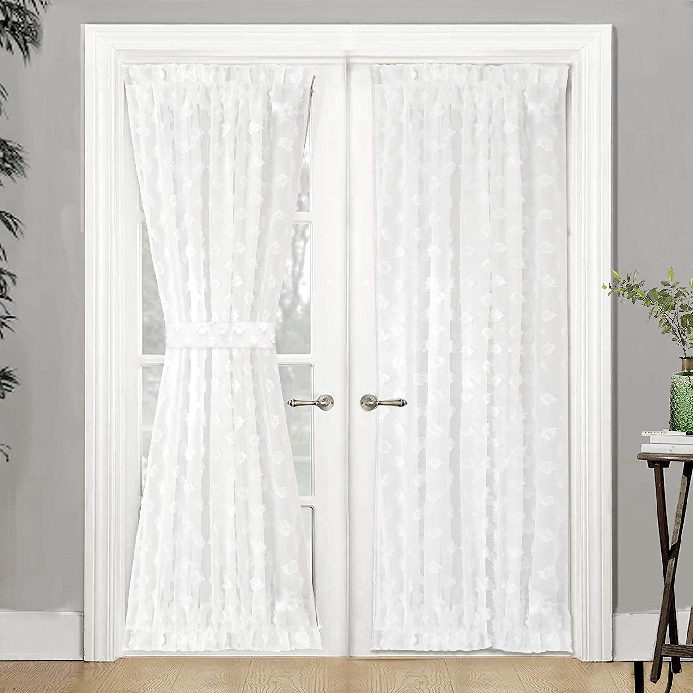 Driftaway Olivia Voile Chiffon Sheer Door Curtain French Door Panel In 2020 French Door Curtains Curtains Rod Pocket Curtains