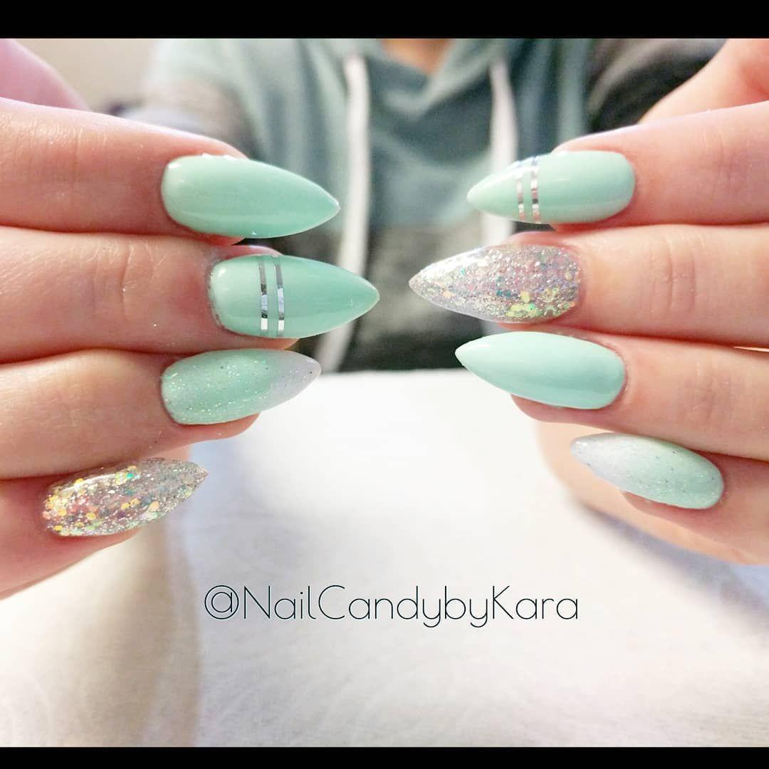 Mint Green Nails For Spring Lightelegancehq Luxiogel Akzentz Nails Nailcandybykara Nailc Mint Green Nails Pretty Acrylic Nails Green Nail Art