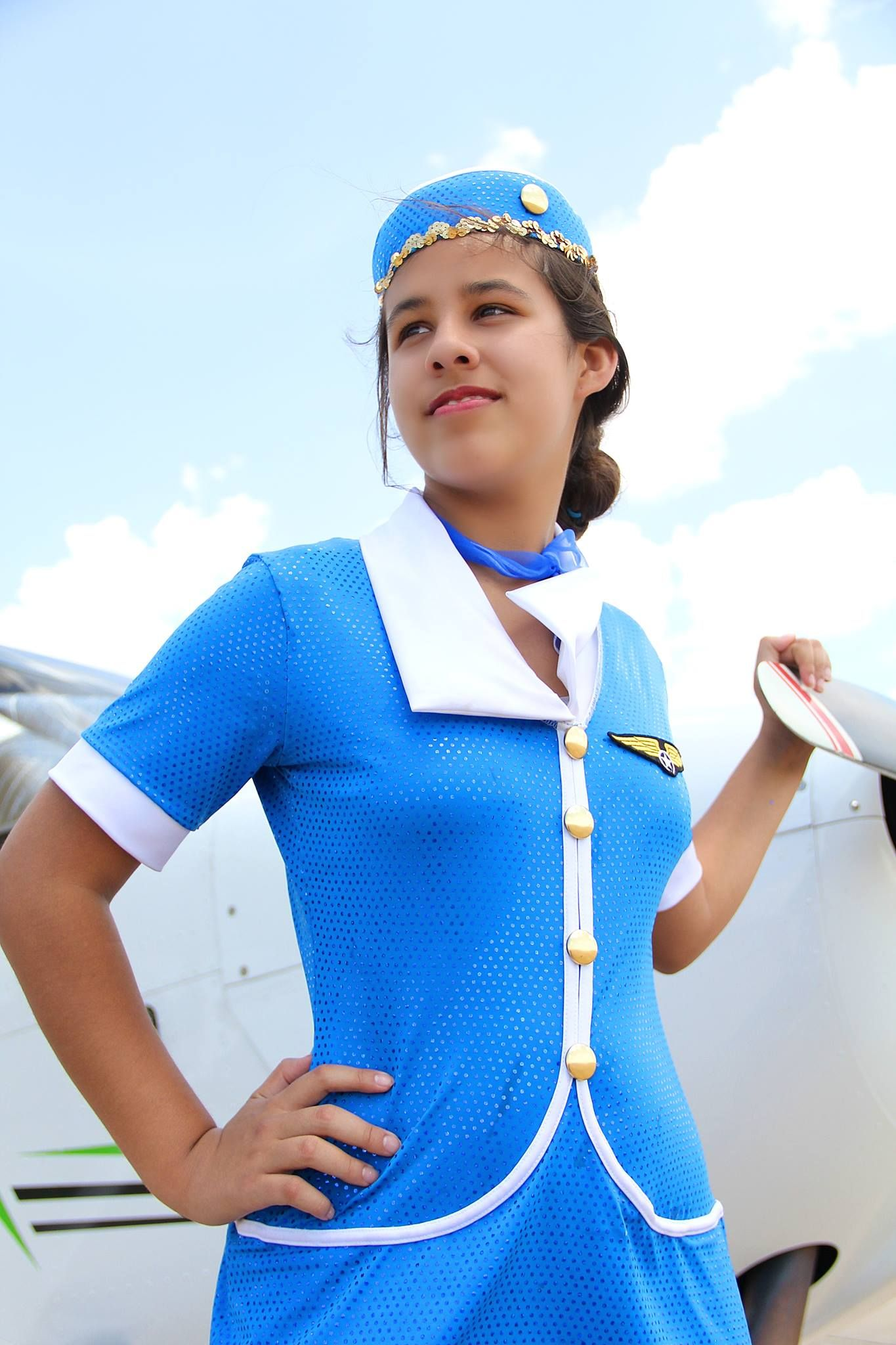 Airplane flight attendant 50s 60s look 12 yr old girl
