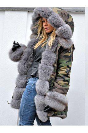 timeless design d075d d06b5 Damen Tarnung Wintermantel Mit Große Fell | cold ▫shit ...