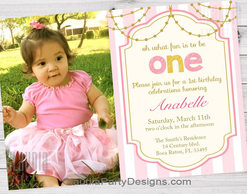First birthday invitation pink and gold, 1st birthday girl printable ...