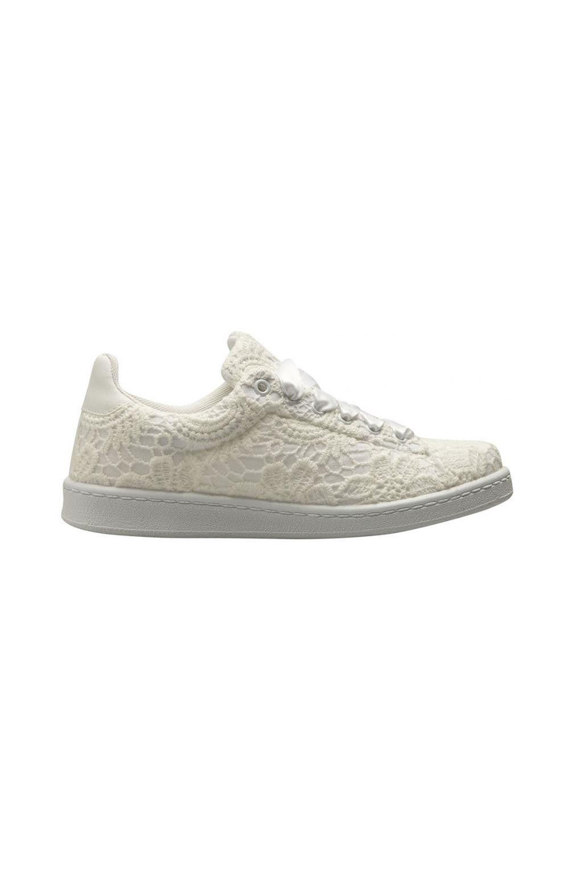 ramasser 5bc50 16592 Naf naf basket dentelle à lacets en satin ecru 3 | sneakers ...