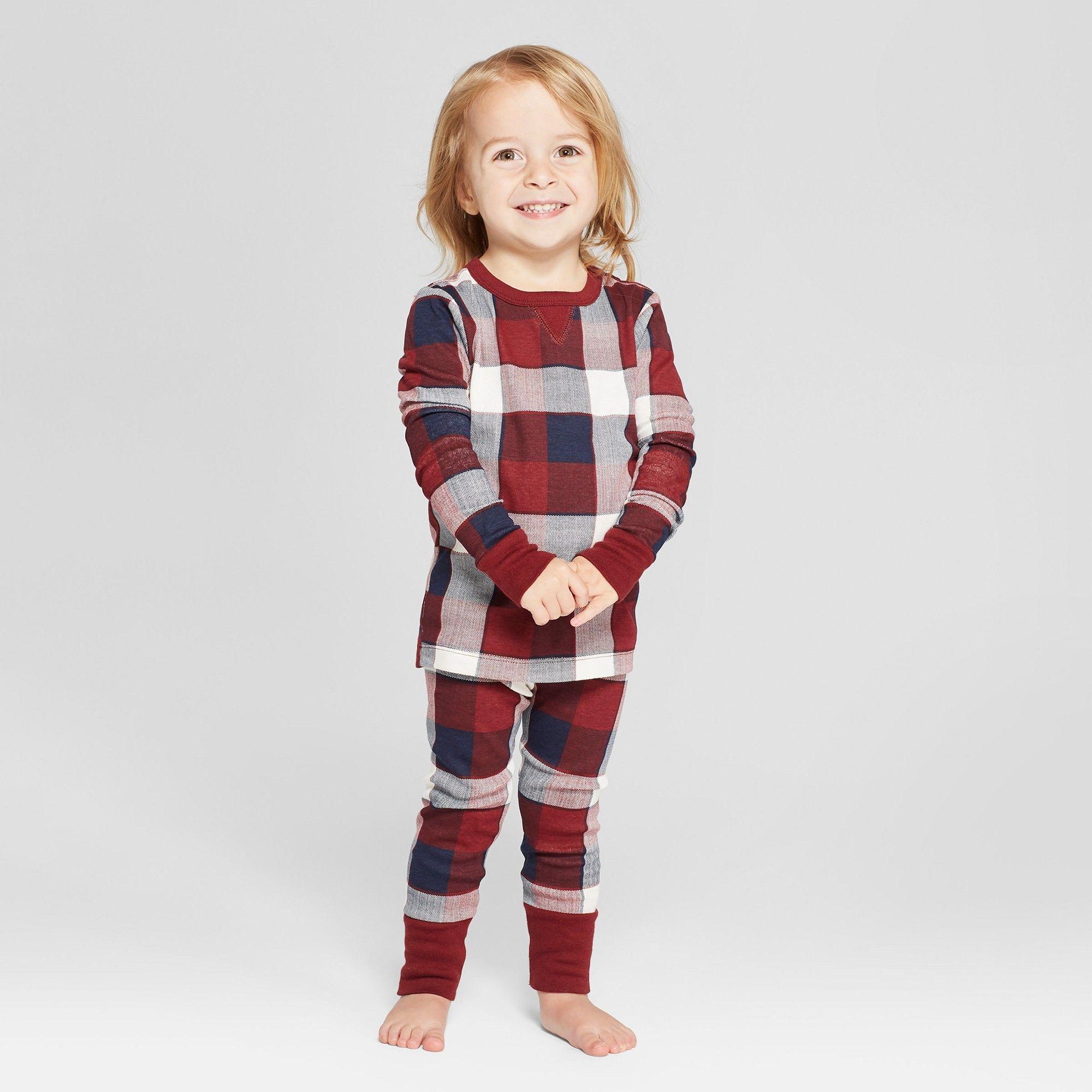 Toddler Plaid Pajama Set Red 12M, Toddler Unisex Plaid
