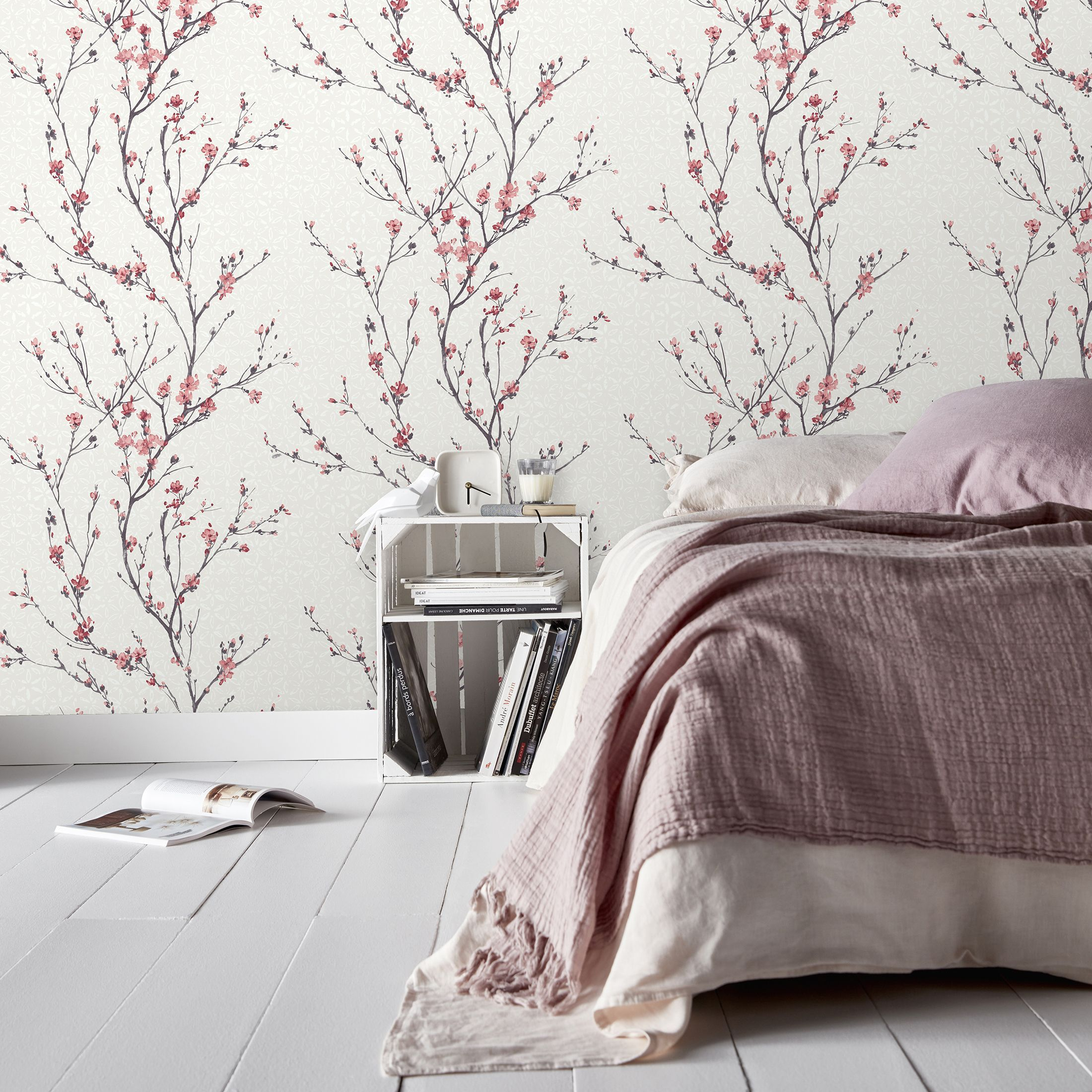 Goodhome Teff Pink Floral Textured Wallpaper In 2020 Textured