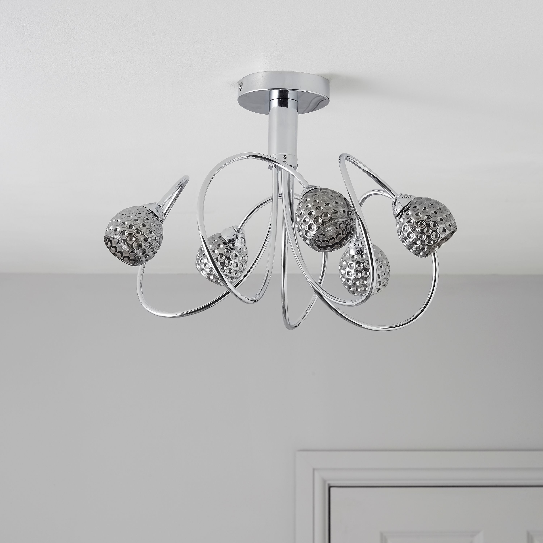 Karyn Swirly Chrome Effect 5 Lamp Ceiling Light