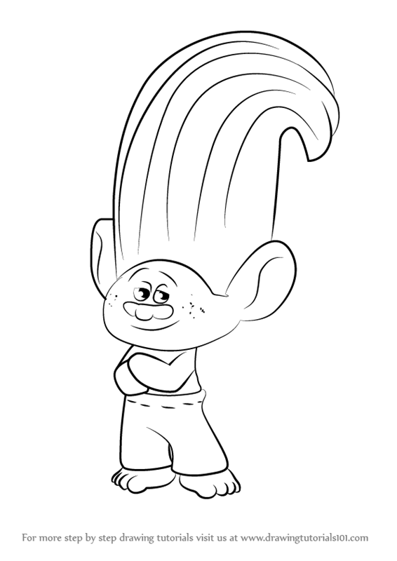 Learn How To Draw Creek From Trolls Trolls Step By Step Drawing Tutorials Poppy Coloring Page Drawings Coloring Pages