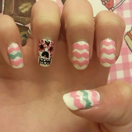 Pink with white nails