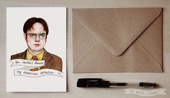 Dwight schrute greeting card watercolor the office valentines day dwight schrute greeting card watercolor the office valentines day m4hsunfo