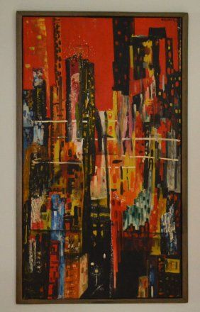 DeCarlo Mid Century Modern Abstract Oil Painting : Lot 81