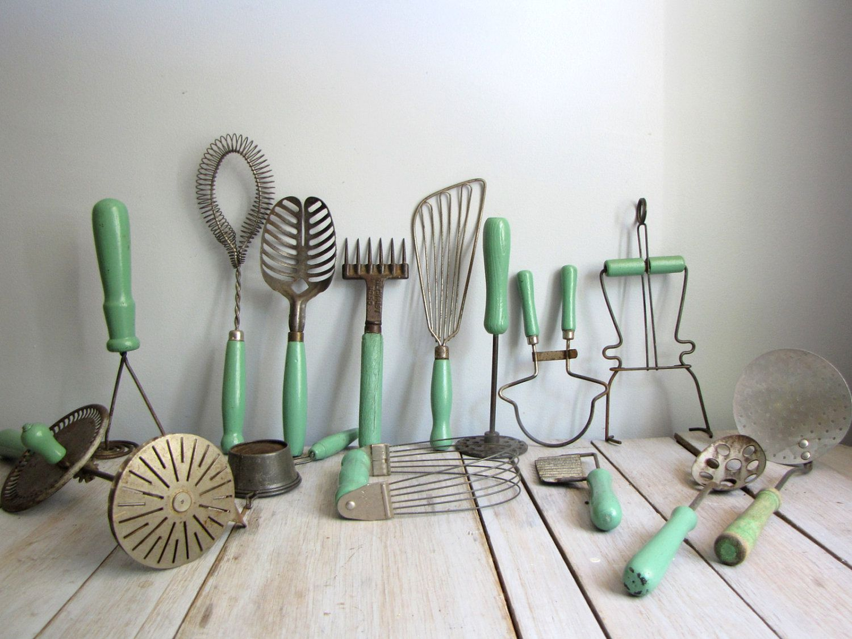 Collection Of 14 Assorted Green Kitchen Utensils Vintage Kitchen Utensils Green Kitchen Utensils Antique Kitchen