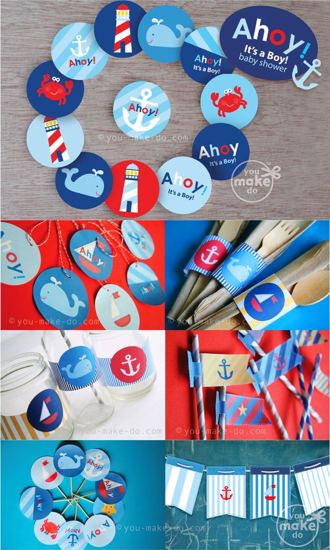 Ahoy Itu0027s A Boy Nautical Baby Shower Decorations! Create A Nautical Theme Baby  Shower With