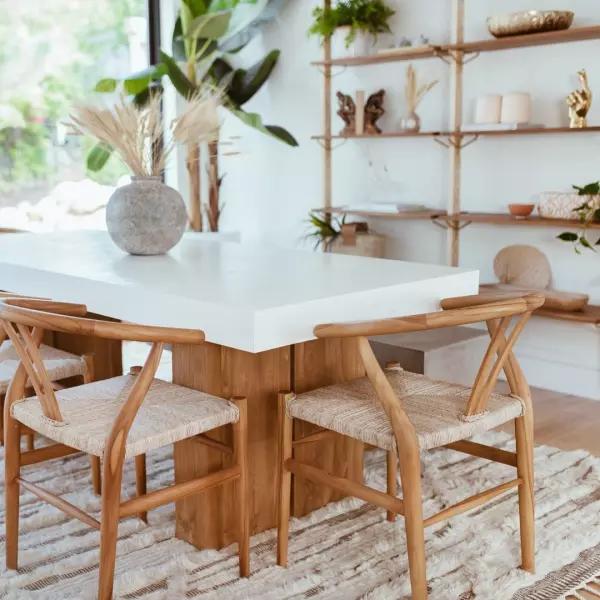 Cooper Modern Rectangular White Concrete Teak Base Outdoor Dining Table Small Boho Dining Room Coastal Dining Room Concrete Dining Table