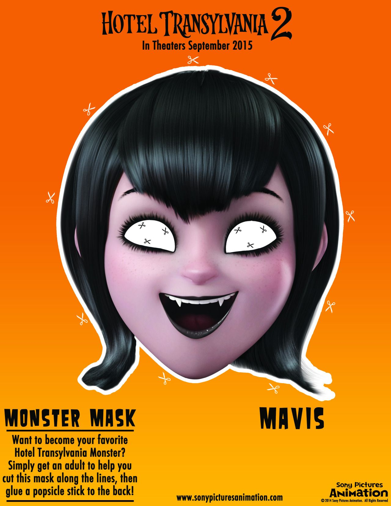 Make your own mavis mask print out cut out and you 39 ve for Make your own halloween mask online