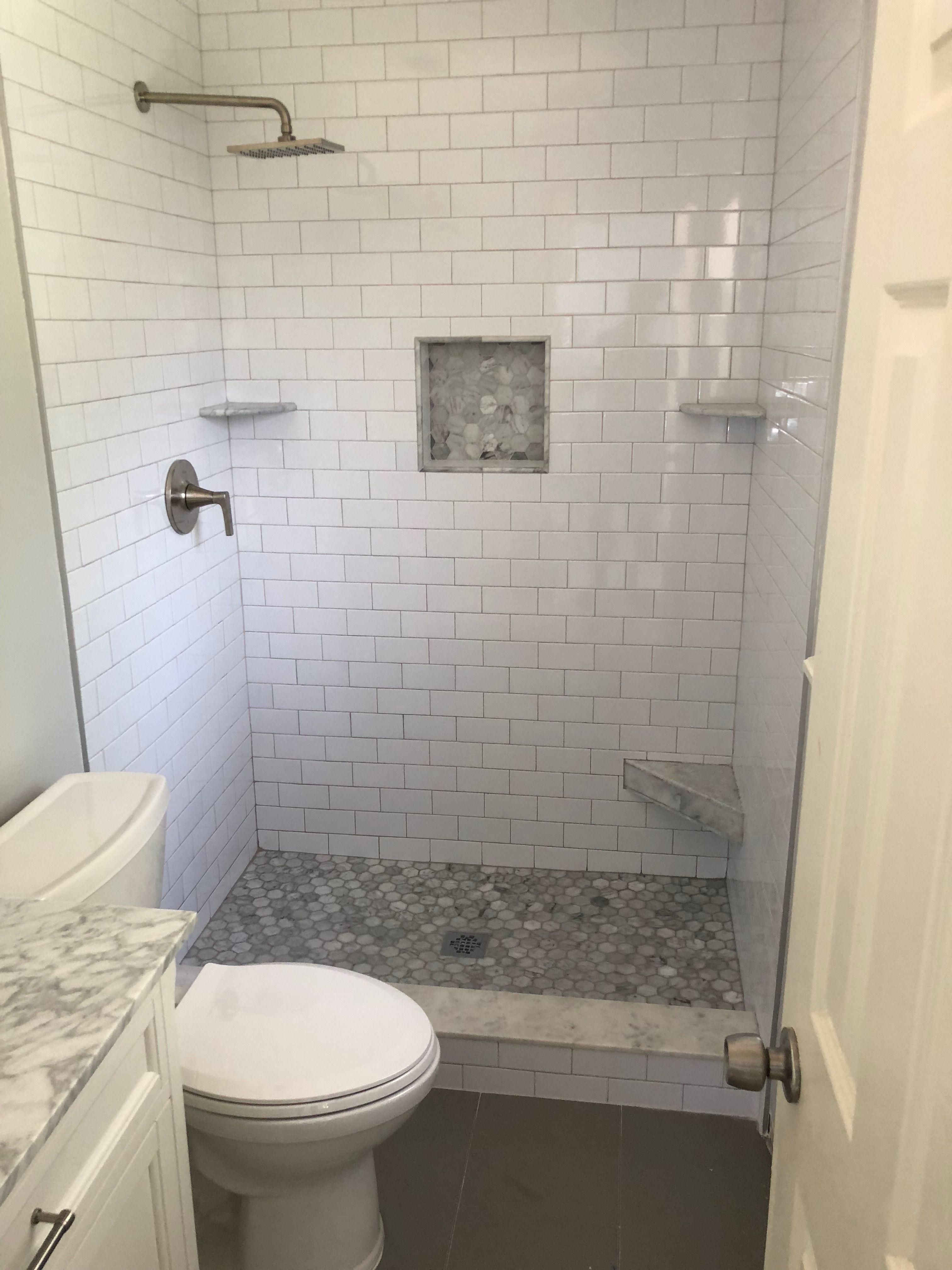 our master bath is finally complete masterbath marble subwaytile rh pinterest com