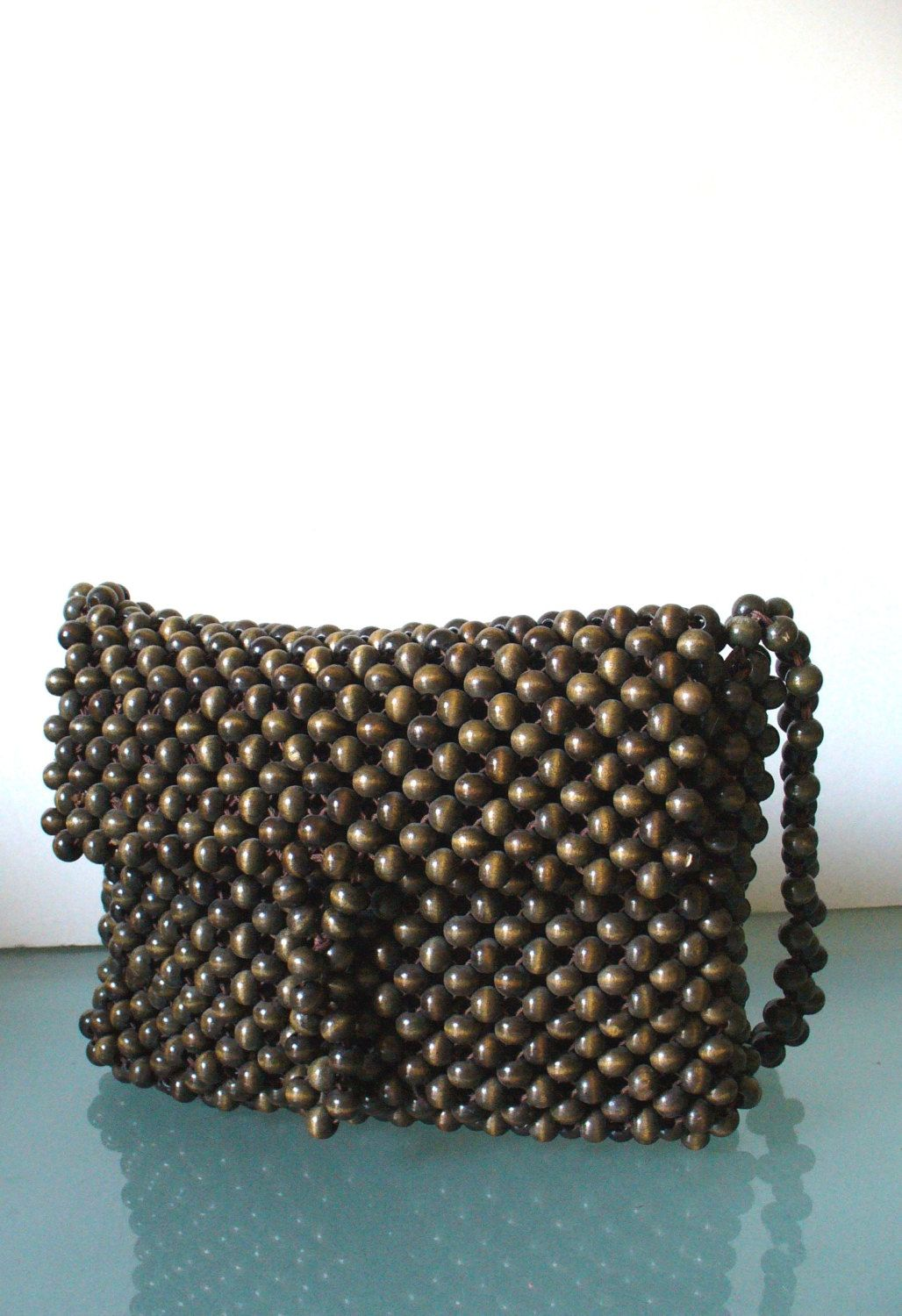 cce4f4ecf715 Vintage Walborg Wood Bead Handmade Bag by TheOldBagOnline on Etsy. Find  this Pin and more on vintage purses ...