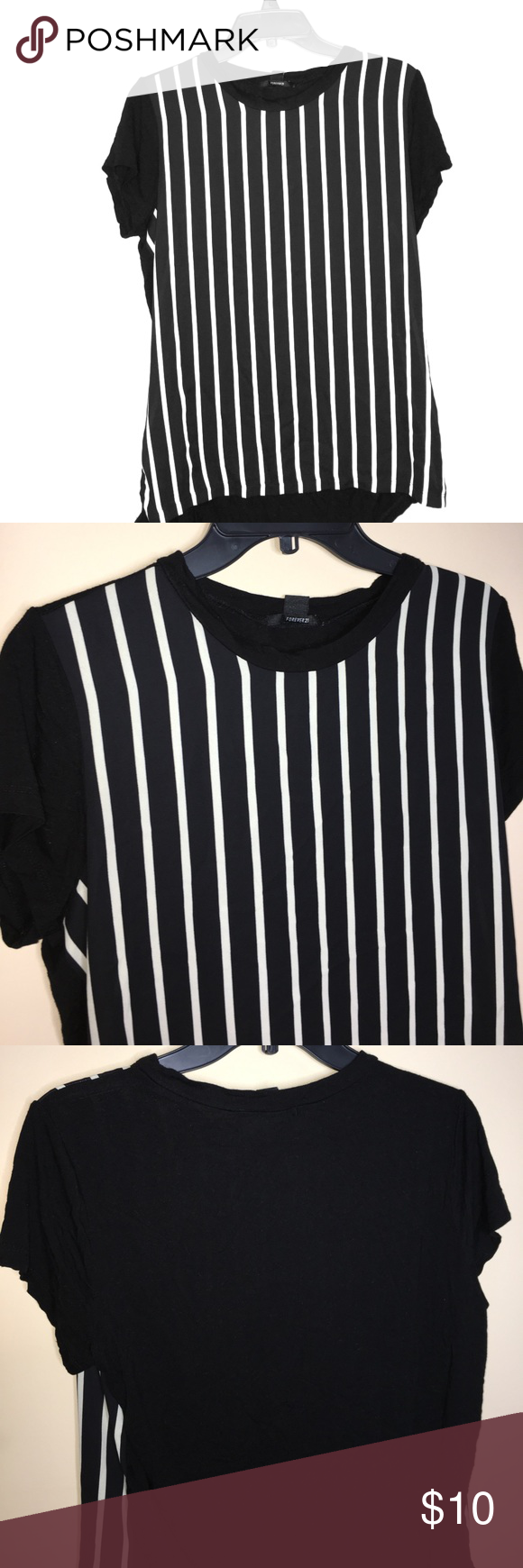 Forever 21 Black Blouse With Off White Stripes Black Blouse White Stripe Clothes Design