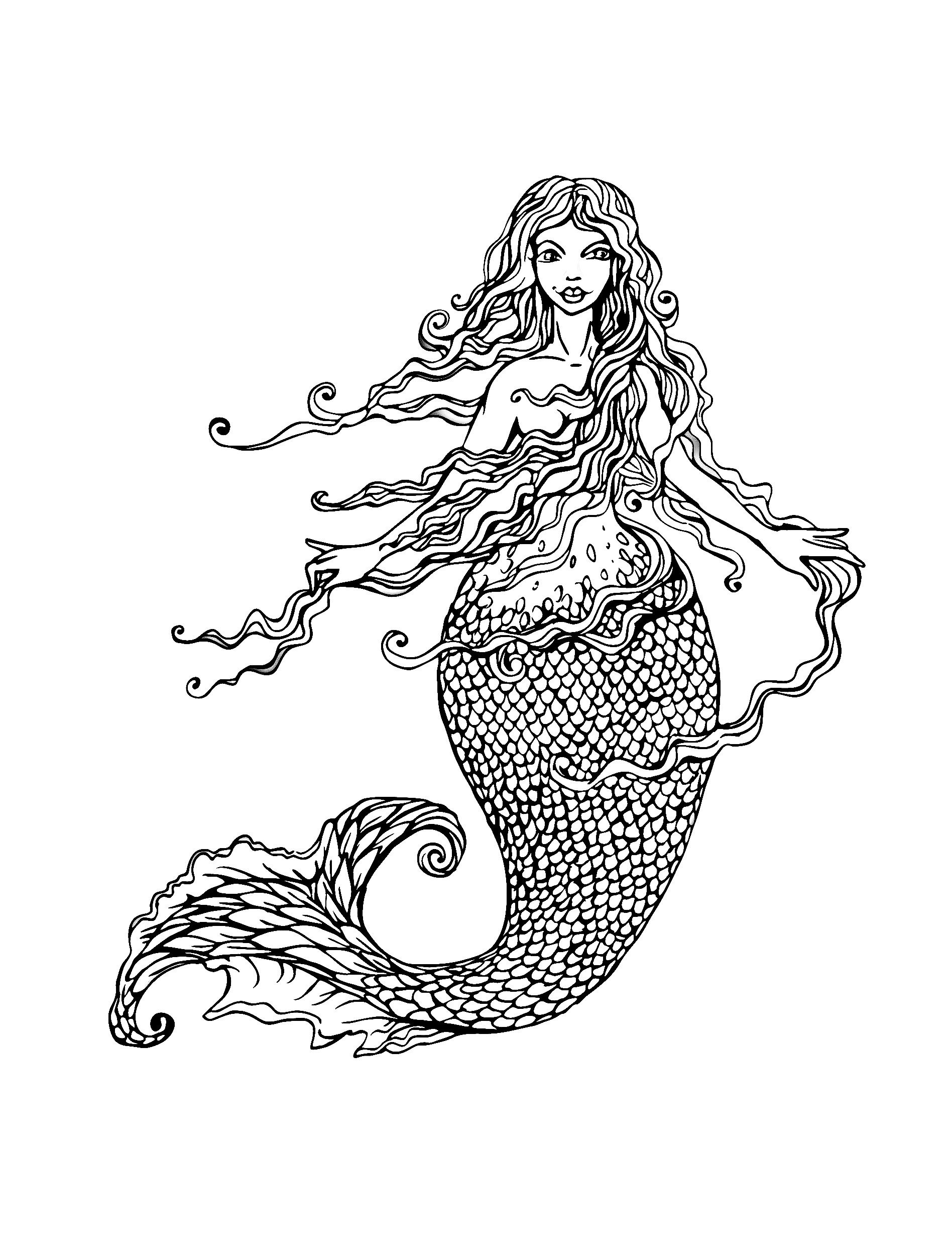 Free coloring page coloring adult mermaid with long hair by