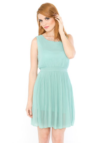 cute-mint-green-midi-dress-pleated