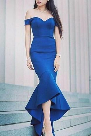 452caee9bdea Charming Royal Blue Off-the-Shoulder Mermaid Sexy Sweetheart Formal Evening