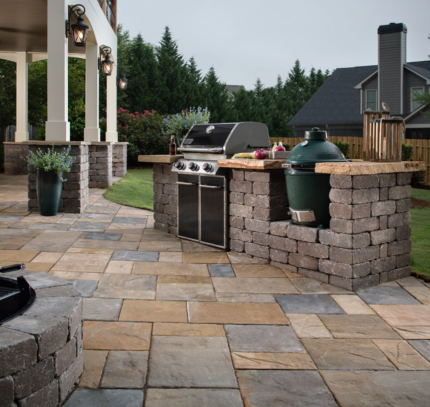 A Green Egg Or A Grill Island Why Not Both Outdoor Kitchen Countertops Outdoor Kitchen Design Outdoor Kitchen