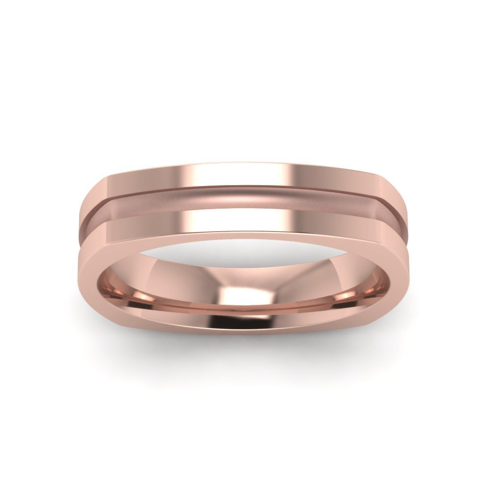 Square Mens Comfort Fit Wedding Bands In 18K Rose Gold Exclusively Styled By Fascinating Diamonds