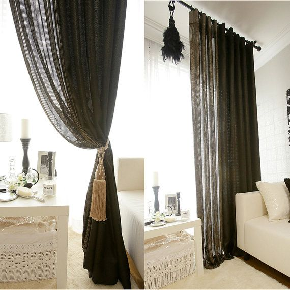 Textured Weave Black Sheer Curtain With Gold Sparkle Curtain