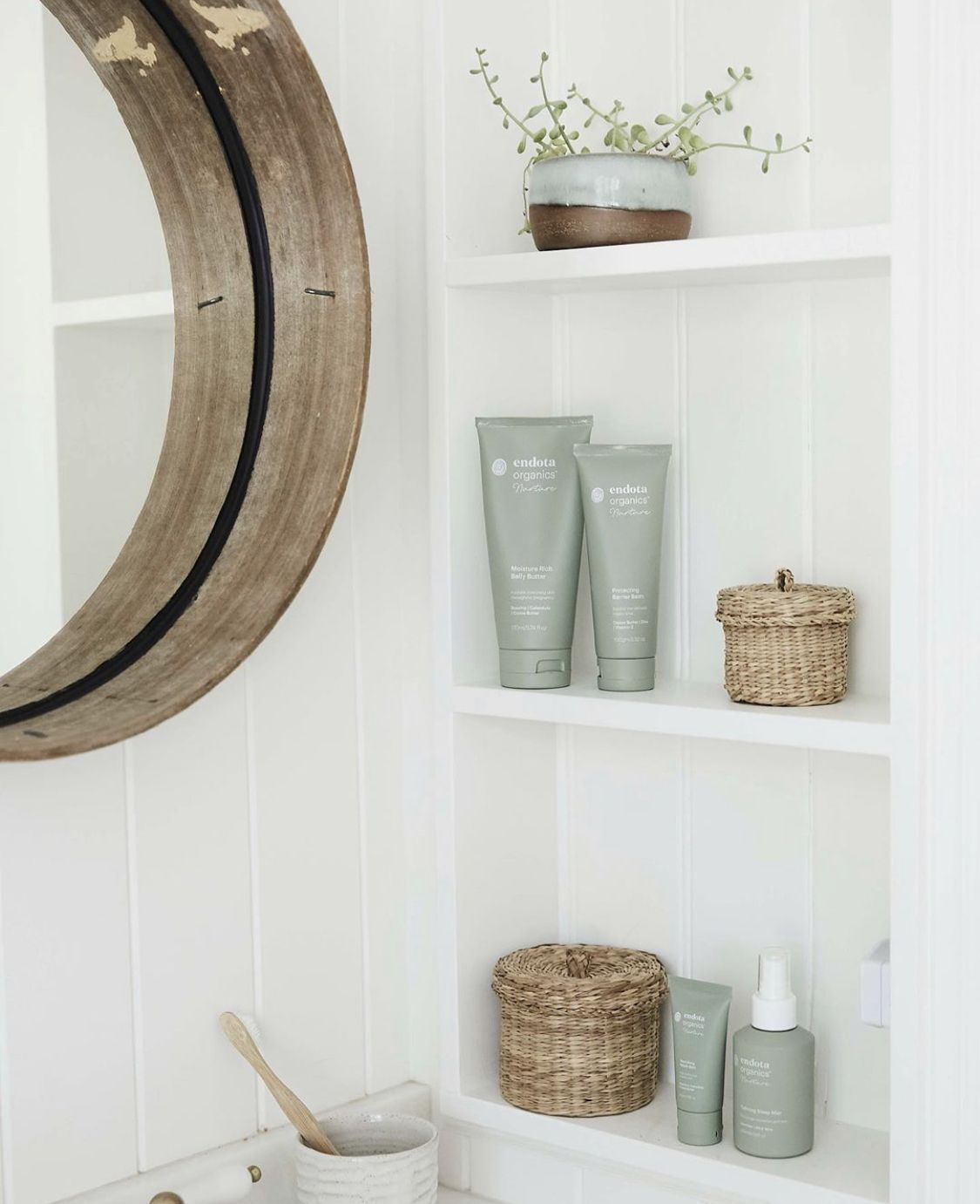 Open shelving in bathroom | Open shelving, Shelving ...