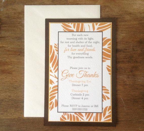 elegant thanksgiving invitation by inktopiary on etsy i n k t