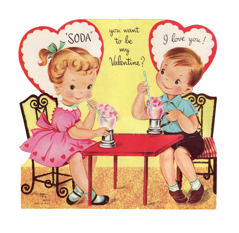 Vintage Valentine with children Too cute For scrapbooking