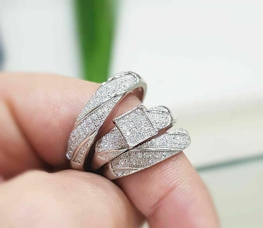 Diamond Trio His And Hers Bridal Wedding Engagement Ring Set 14k