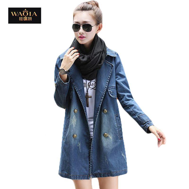Vestidos 2016 Fashion Lente Herfst Dameskleding lange jas Denim Jas Lange Losse Gaten Vrouwen Jas(China (Mainland))