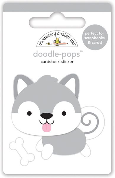 Doodlebug Design Polar Pals Happy Husky Doodle-Pops 3 Dimensional Stickers