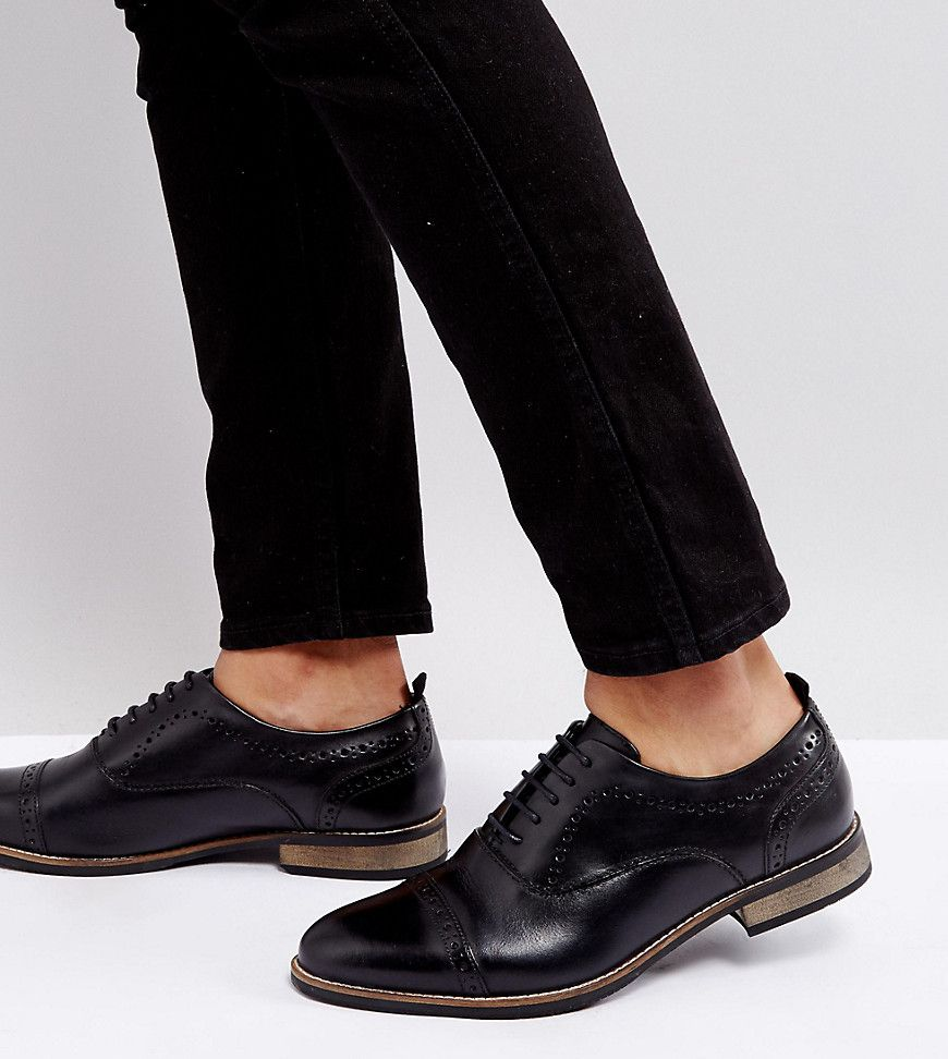 ASOS DESIGN Wide Fit lace up shoes in leather with natural sole rCfoZRXq