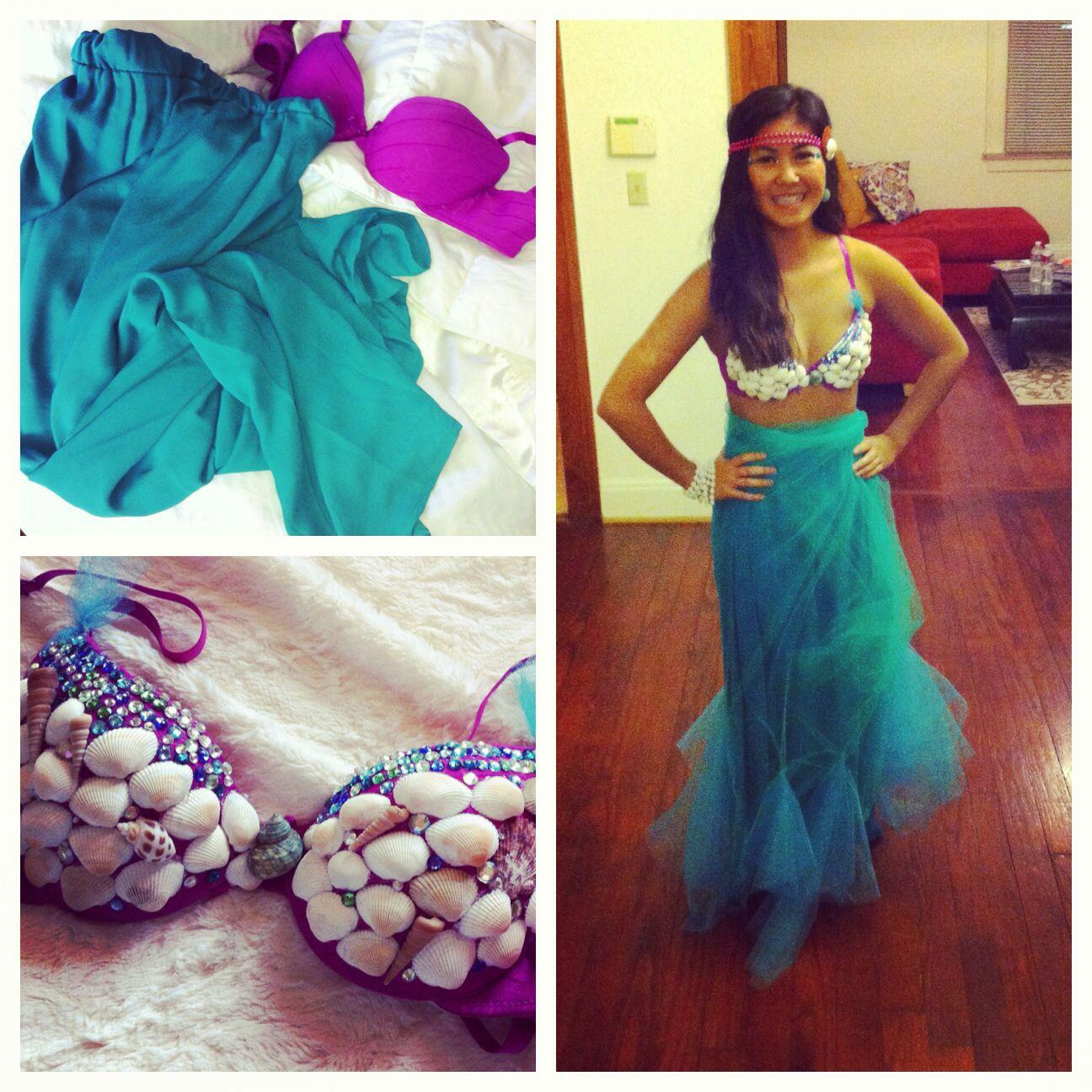 diy mermaid costume seashells glued to bra green and