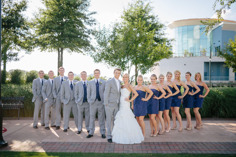 Nautical wedding bridal party navy grey and coral wedding