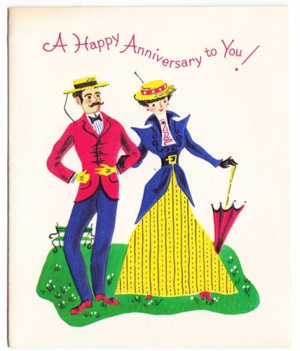 Vintage Old Fashion Couple Anniversary Greeting Card Anniversary Greeting Cards Happy Anniversary Couples Anniversary
