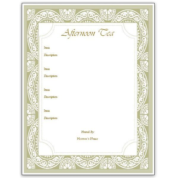 Hosting A Tea Download An Afternoon Tea Menu Template For Ms Sollz  Menu Templates Free Download Word