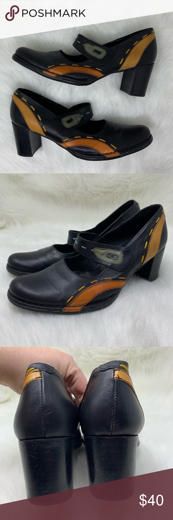 Pikolinos Black Leather Mary Jane Pump Heel 41 Pikolinos Women S