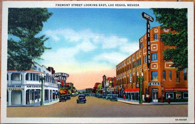 1940s Linen Postcard: Fremont Street, Overland Hotel - Las Vegas ...