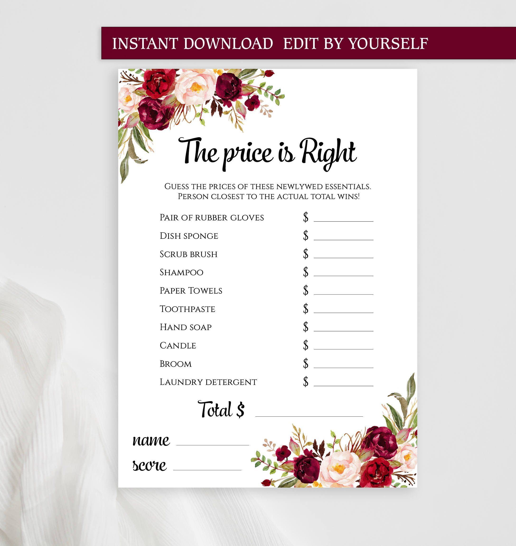 The Price is Right EDITABLE game template Customized