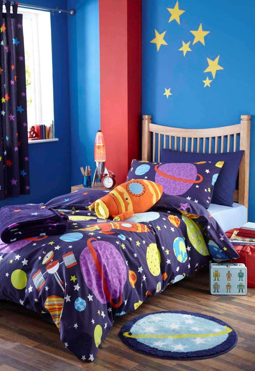 Boys space rocket outer space bedding or curtains or for Outer space bedroom design