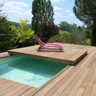 Image result for can you recess a hot tub underneath a - Covering a swimming pool with decking ...