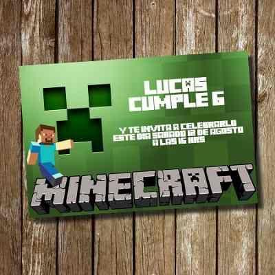 Kit Imprimible Tarjeta De Invitación Cumpleaños Minecraft