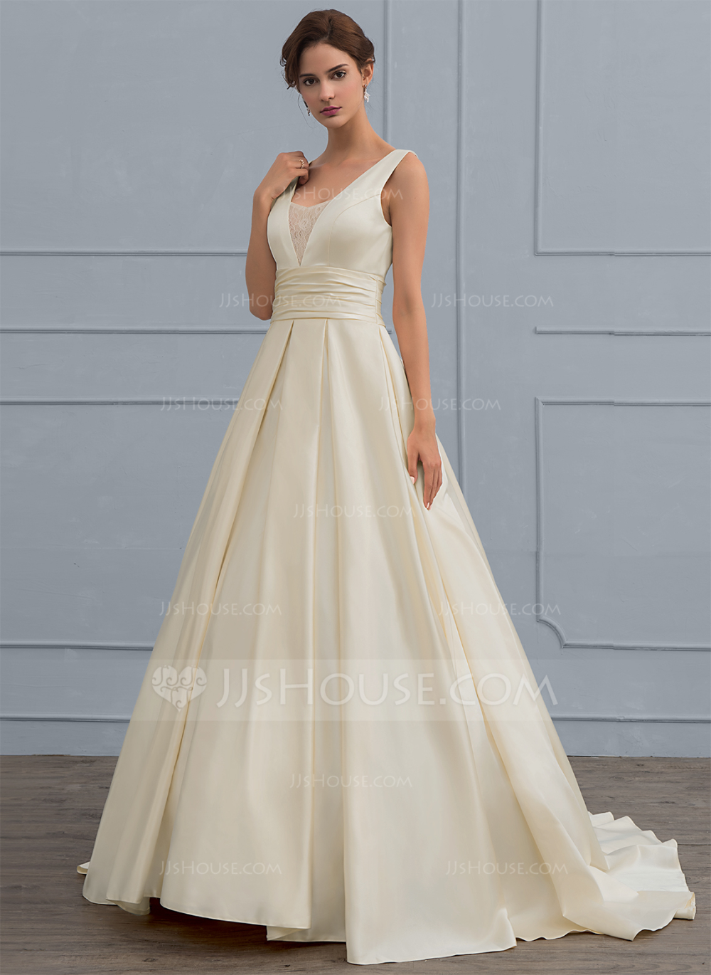Jjshouse Ball Gown V Neck Sweep Train Satin Wedding Dress With Lace In 2020 Bridal Dresses Structured Wedding Dresses Elegant Wedding Dress