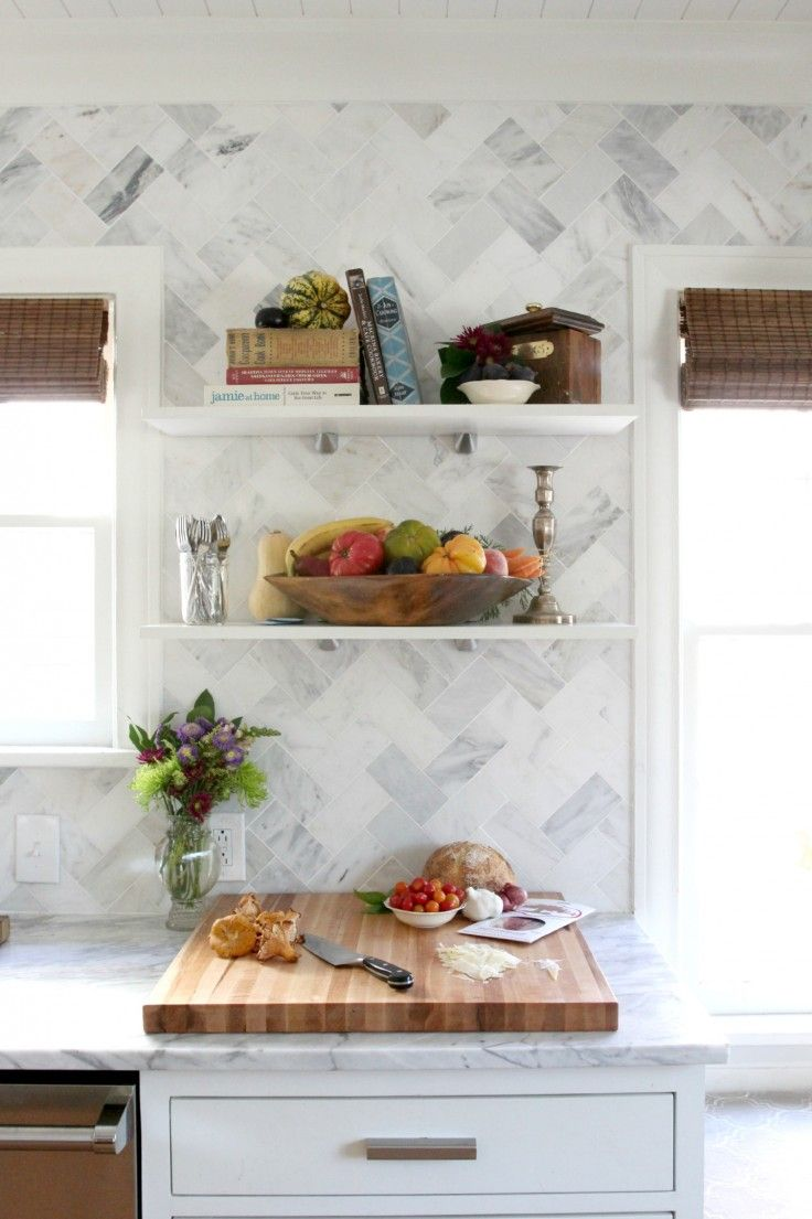 The Grit and Polish - white kitchen with marble herringbone ...
