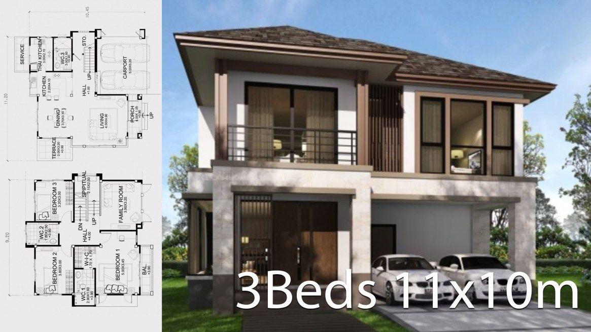 Home Design Plan 11x10m With 3 Bedrooms Home Design With Plansearch House Design Home Design Plan Modern Farmhouse Plans