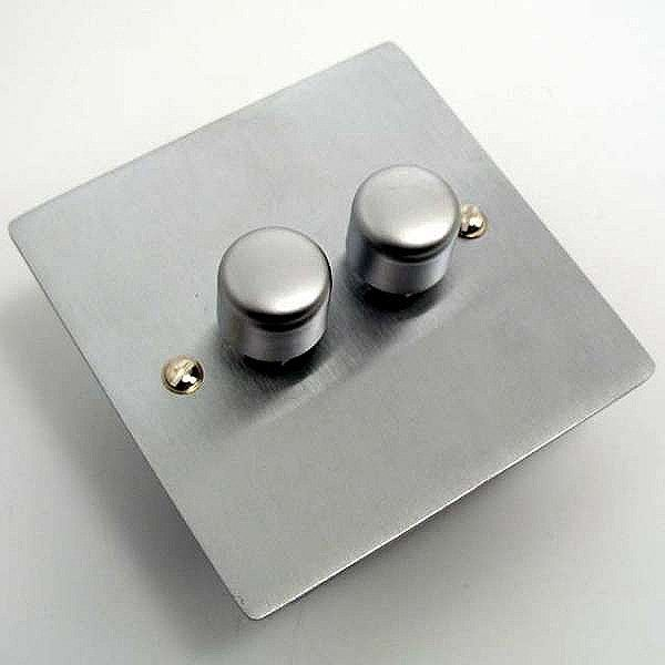 Victorian Satin Chrome Dimmer Switch 2 Gang 250W