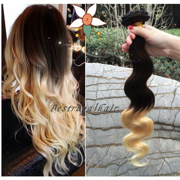 Darkest Brown to Natural Blonde Two Colors Ombre Hair Extension 18... (310 BRL) ❤ liked on Polyvore featuring beauty products, haircare, hair styling tools, hair, bath & beauty, grey, hair care and hair extensions