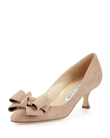 Lisanewbo Suede Low Heel Bow Pump Beige Manolo Blahnik Heels Manolo Blahnik Shoes Manolo Blahnik