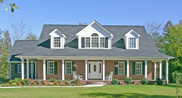 Brick house with wrap around porch what customers are for Southern style ranch home plans
